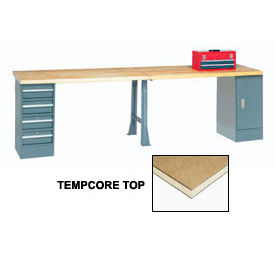 "607990 120"" W x 30"" D Extra Long Production Workbench, Shop Top Square Edge - Gray"