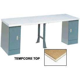 "607994 144"" W x 30"" D Extra Long Production Workbench, Shop Top Square Edge - Gray"