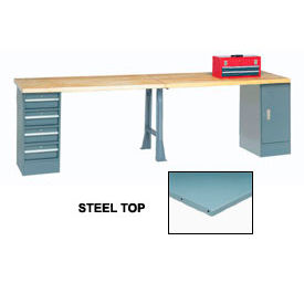 "608014 120"" W x 30"" D Extra Long Production Workbench, Steel Square Edge - Gray"