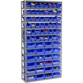 "603441BL Steel Shelving with Total 72 4""H Plastic Shelf Bins Blue, 36x12x72-13 Shelves"