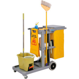 603590 Global; Janitor Cart Gray with 25 Gallon Vinyl Bag