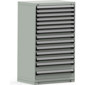 R5PEE-5826KD-71 Rousseau Modular Storage Drawer Cabinet 36x24x60, 14 Drawers (3 Sizes) w/o Divider, w/Lock, Gray