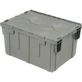 "Global Industrial™ Plastic Shipping/Storage Tote W/Attached Lid, 28-1/8""x20-3/4""x15-5/8"", Gray"