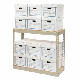 "130156 Record Storage Rack With Boxes 42""W x 15""D x 36""H"