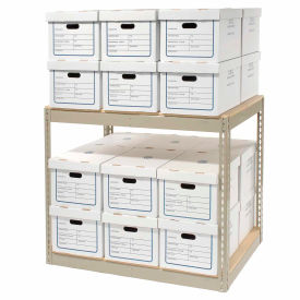 "130157 Record Storage Rack With Boxes 42""W x 30""D x 36""H"