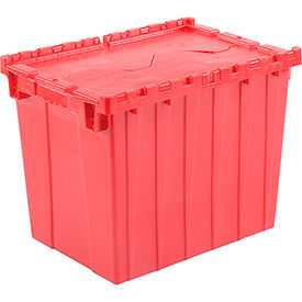 Global Industrial™ Plastic Attached Lid Shipping & Storage Container 21-7/8x15-1/4x17-1/4 Red