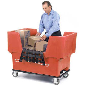 51166718R-5S + 51A1607-W-00 Dandux Red Easy Access 18 Bushel Plastic Mail & Box Truck 51166718R-5S with Cargo Net
