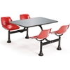 "1004-RED OFM Model 1004 Cluster Seating Table with 24"" Stainless Steel Top and Red Seats"