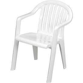 US023004 Grosfillex; Resin Lowback Stacking Outdoor Armchair - White