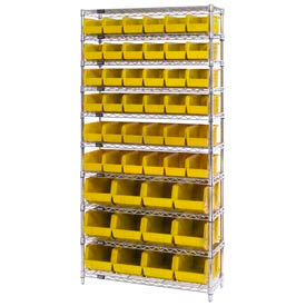 268925YL Chrome Wire Shelving With 48 Giant Plastic Stacking Bins Yellow, 36x14x74