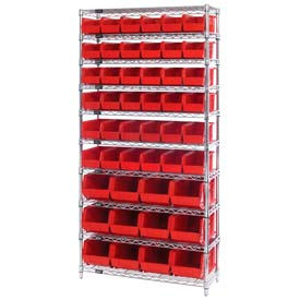 268925RD Chrome Wire Shelving With 48 Giant Plastic Stacking Bins Red, 36x14x74