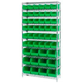 268925GN Chrome Wire Shelving With 48 Giant Plastic Stacking Bins Green, 36x14x74