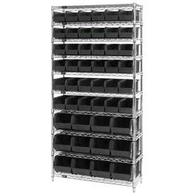 268925BK Chrome Wire Shelving With 48 Giant Plastic Stacking Bins Black, 36x14x74