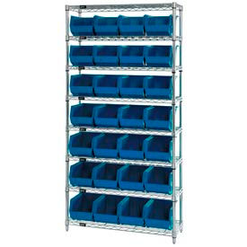268926BL Chrome Wire Shelving With 28 Giant Plastic Stacking Bins Blue, 36x14x74
