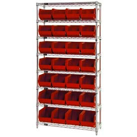 268926RD Chrome Wire Shelving With 28 Giant Plastic Stacking Bins Red, 36x14x74