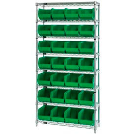 268926GN Chrome Wire Shelving With 28 Giant Plastic Stacking Bins Green, 36x14x74