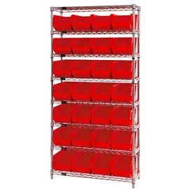 268928RD Chrome Wire Shelving With 28 Giant Plastic Stacking Bins Red, 36x14x74