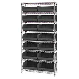 268929BK Chrome Wire Shelving With 14 Giant Plastic Stacking Bins Black, 36x14x74