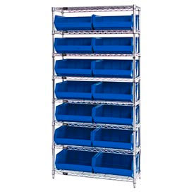 268929BL Chrome Wire Shelving With 14 Giant Plastic Stacking Bins Blue, 36x14x74
