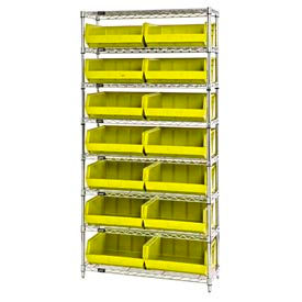 268929YL Chrome Wire Shelving With 14 Giant Plastic Stacking Bins Yellow, 36x14x74