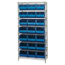 268930BL Chrome Wire Shelving With 21 Giant Plastic Stacking Bins Blue, 36x18x74
