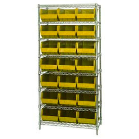268930YL Chrome Wire Shelving With 21 Giant Plastic Stacking Bins Yellow, 36x18x74