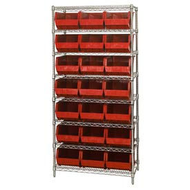268930RD Chrome Wire Shelving With 21 Giant Plastic Stacking Bins Red, 36x18x74