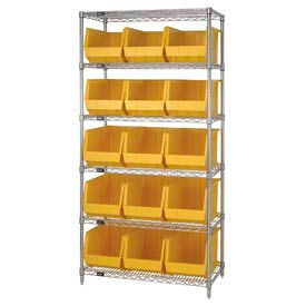 268931YL Chrome Wire Shelving With 15 Giant Plastic Stacking Bins Yellow, 36x18x74