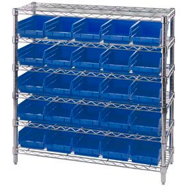 "268980BL Chrome Wire Shelving with 25 4""H Plastic Shelf Bins Blue, 36x14x36"