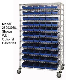 "269031BL Chrome Wire Shelving with 110 4""H Plastic Shelf Bins Blue, 48x14x74"