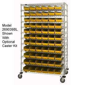 "269034YL Chrome Wire Shelving with 110 4""H Plastic Shelf Bins Yellow, 48x18x74"