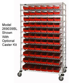 "269054RD Chrome Wire Shelving with 110 4""H Plastic Shelf Bins Red, 72x18x74"