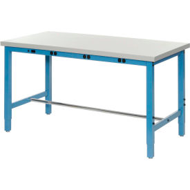 "249138B 72""W x 24""D Packaging Workbench with Power Apron - Plastic Laminate Square Edge - Blue"