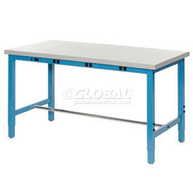 "607942B 72""W x 30""D Packaging Workbench with Power Apron - ESD Laminate Square Edge - Blue"