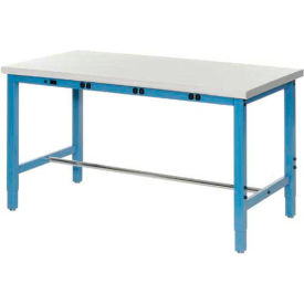 "607948B 72""W x 30""D Packaging Workbench with Power Apron - ESD Safety Edge - Blue"