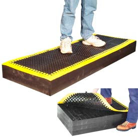 "M33784 7/8"" Thick Anti Fatigue Mat - Black with Yellow Border 36X36"