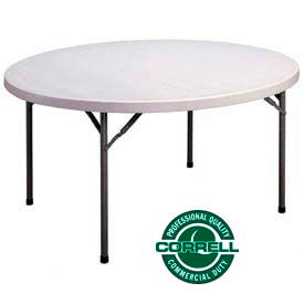 "FS60R Correll Folding Table - Blow Molded Round - 60"" - Gray"