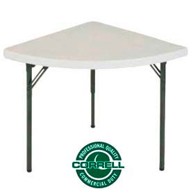 "FS3030W Correll Folding Table - Blow Molded Wedge Shape - 30""X 30 - Gray"