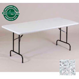 "R3060-23 Correll Folding Table - Blow Molded - 30"" x 60"", Gray Granite"