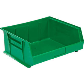 QUS250GN** Global; Plastic Stackable Bin 16-1/2 x 14-3/4 x 7, Green