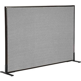 "240226FGY Freestanding Office Partition Panel, 60-1/4""W x 42""H, Gray"