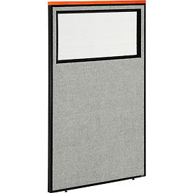 "694667WGY Deluxe Office Partition Panel with Partial Window, 36-1/4""W x 61-1/2""H, Gray"