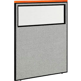 "694668WGY Deluxe Office Partition Panel with Partial Window, 48-1/4""W x 61-1/2""H, Gray"