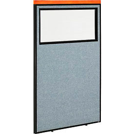 "694667WBL Deluxe Office Partition Panel with Partial Window, 36-1/4""W x 61-1/2""H, Blue"