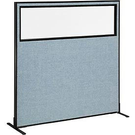 "694677WFBL Freestanding Office Partition Panel with Partial Window, 60-1/4""W x 60""H, Blue"