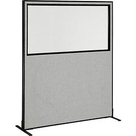 "694681WFGY Freestanding Office Partition Panel with Partial Window, 60-1/4""W x 72""H, Gray"
