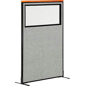 "694683WFGY Deluxe Freestanding Office Partition Panel with Partial Window, 36-1/4""W x 61-1/2""H, Gray"