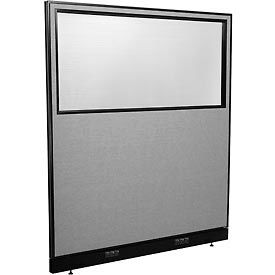 "694709WEGY Electric Office Partition Panel with Partial Window, 60-1/4""W x 64""H, Gray"