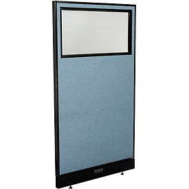 "694707WEBL Electric Office Partition Panel with Partial Window, 36-1/4""W x 64""H, Blue"