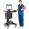"309235BKA Medical Computer Cart, 27""W x 24-1/2""D x 41""H, Black"